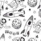 Raketer och astronauterna mönster — Stockvektor