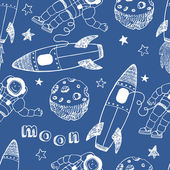 Rockets seamless pattern — Stock Vector