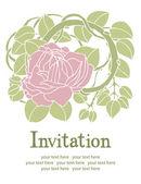 Roze bloem uitnodiging — Stockvector