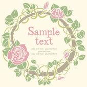 Roze bloem ronde kaart — Stockvector