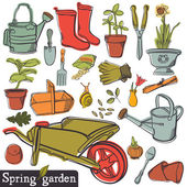 Spring garden set — Stock Vector