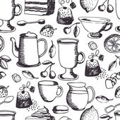 Tea time pattern — Vector de stock