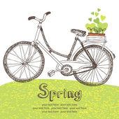 Bicicleta vintage con plántulas de primavera — Vector de stock