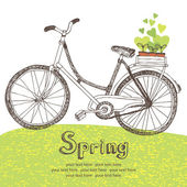 Vintage bicycle with spring seedlings — Vector de stock