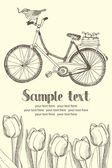 Vintage fietsen en bloemen kaart — Stok Vektör