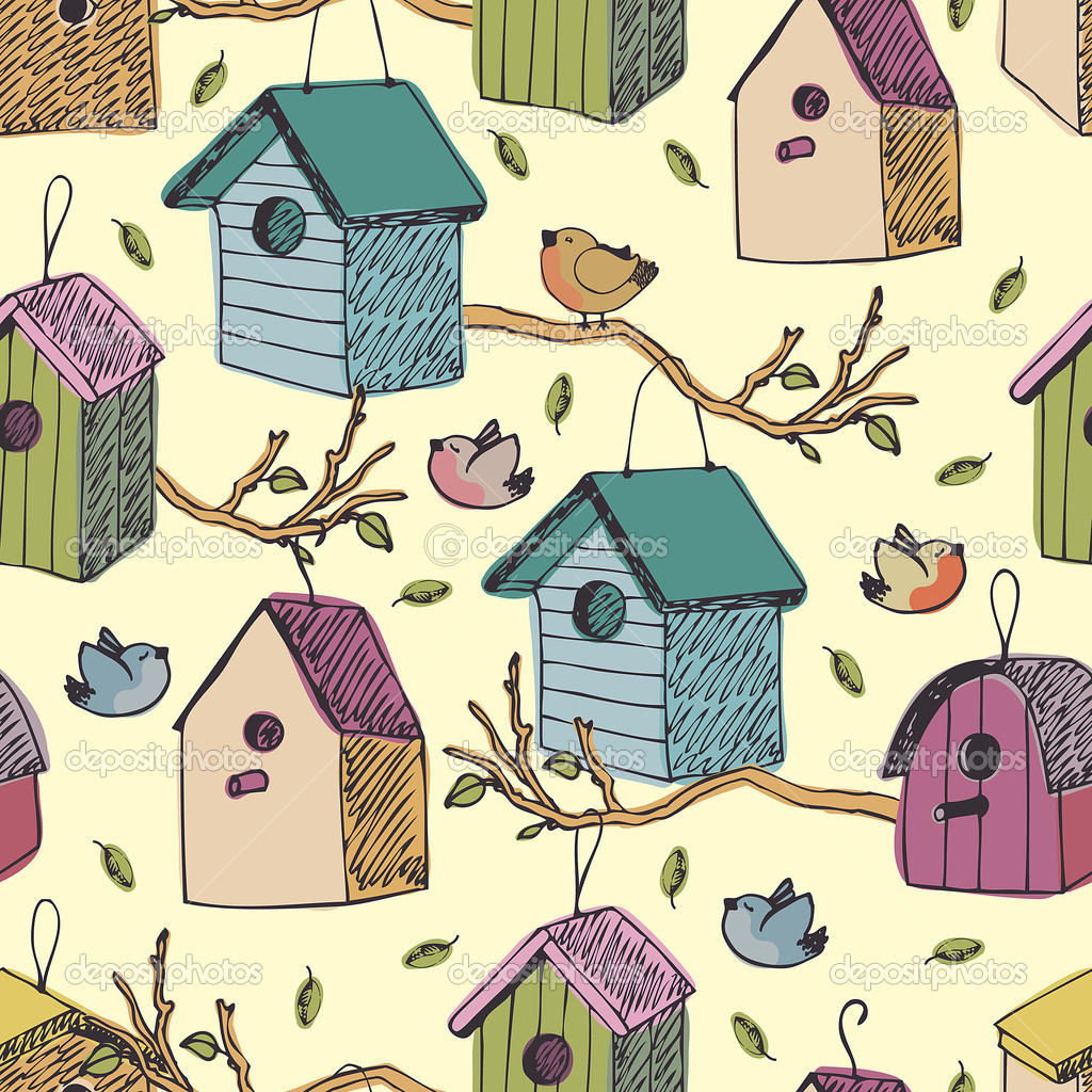 Birds and starling houses background — Stock Vector #10662283