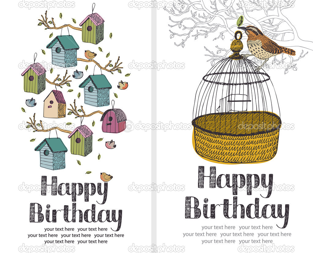 Birds Happy Birthday card — Stock Vector #10662290