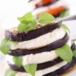 Grilled aubergine and mozzarella - Stock Photo