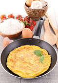 Omelette in pan — Stock Photo