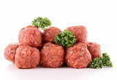 Isolated raw meatballs — Stock Photo