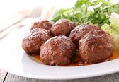 Roasted meatballs and vegetable — Stock Photo