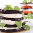 Grilled eggplant and mozzarella - Stock Photo
