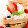 Waffle and berries - Stock Photo