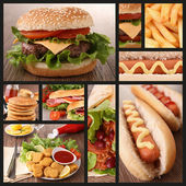 Collection of fast food image — 图库照片