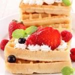 Waffle and strawberries — Stock Photo