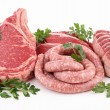 Stock Photo: Isolated raw meats