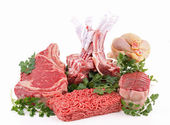 Isolated heap of raw meat — Stock Photo