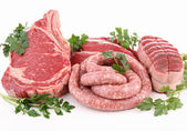 Isolated raw meats — Stock Photo