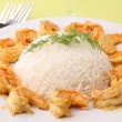 Plate with rice and shrimp — Stock Photo