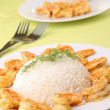 Meal,rice and curry shrimp — Stock Photo