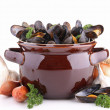 Pot with mussels and ingredient — Stock Photo