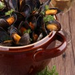 Stock Photo: Mussels with wine sauce