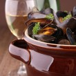 Stock Photo: Mussels and wine sauce