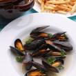 Stock Photo: Mussels and chips