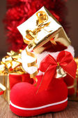 Christmas decoration, boot and gift — Stock Photo