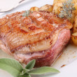 Gourmet grilled duck breast and potato — Stock Photo #8665274