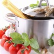 Stock Photo: Cooking pot with spaghetti