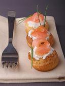 • 舒克斯先生与奶油和三文鱼 — 图库照片