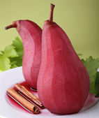 Poached pear with red wine — Stock Photo