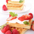 Waffle and strawberry — Stock Photo #8752618