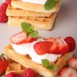 Waffle and strawberry — Stock Photo