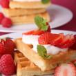 Waffle and strawberry — Stock Photo