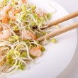 Stock Photo: Salad, soybeand shrimp