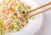 Salad, soybean and shrimp — Stock Photo