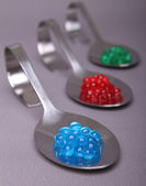 Spoon of molecular caviar — Stock Photo