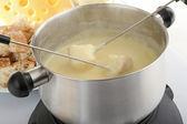 Cheese fondue and bread — Stock Photo