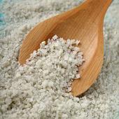 Sea salt and spoon — Stock Photo