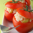 Stuffed tomato with risotto — Stock Photo