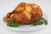 Isolated roast chicken — Stock Photo