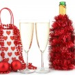 Isolated of champagne and decoration — Stock Photo