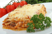 Plate of lasagna with beef — Stock Photo