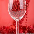 Glass and garland — Stock Photo