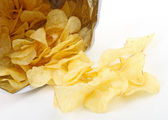 Closeup on potato chips — Stock Photo