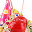 Toffee apple and decoration — Stock Photo