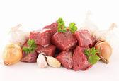 Raw beef cutting board — Stock Photo