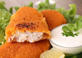 Breaded fish and vegetable — Stock Photo